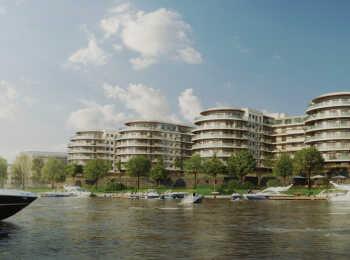 Вид на комплекс с реки Малая Невка